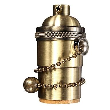 1 buc e26 / e27 lumina industriale soclu de metal coajă de epocă edison pendant lampă de metal pendant cu comutator lanț de tragere