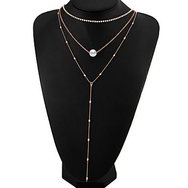 Mulheres Caído Forma Multi Camadas Fashion Estilo simples colares em camadas Imitação de Pérola Cristal Imitação de Pérola Liga colares
