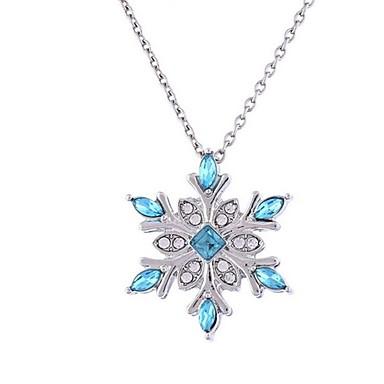 billige Mode Halskæde-Dame Syntetisk Diamant Halskædevedhæng Blomst Sneflage Damer Klassisk Mode Mørkeblå Halskæder Smykker Til Jul Aftenselskab