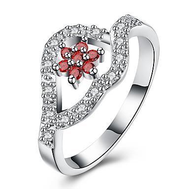 Pentru femei Band Ring Zirconiu Cubic Rosu Zirconiu Zirconiu Cubic Argilă Aliaj Geometric Shape Floare Personalizat Γεωμετρικά Cute Stil