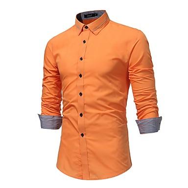 baratos Camisas Masculinas-Homens Tamanhos Grandes Camisa Social Sólido Algodão Preto XL / Manga Longa / Primavera / Outono