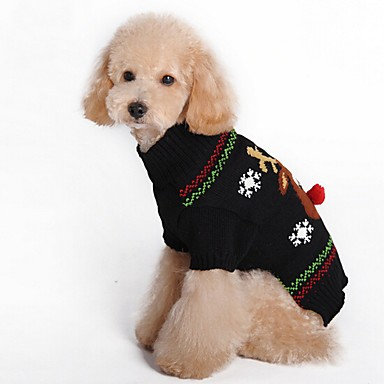 Pisici Câine Haine Pulovere Îmbrăcăminte Câini Petrecere Cosplay Casul/Zilnic Keep Warm Nuntă Halloween Crăciun Anul Nou Ren Negru Rosu