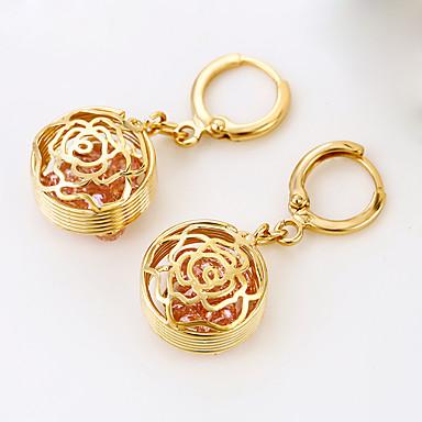Pentru femei Cercei Picătură Floral Lux Stil Floral Flori Placat Cu Aur Roz Rotund Trandafiri Floare Bijuterii Nuntă Logodnă Costum de