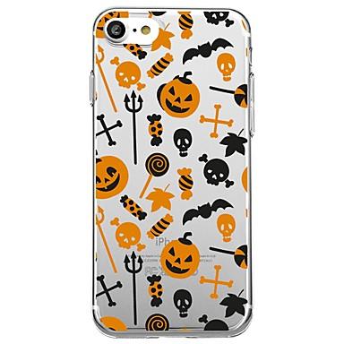 voordelige iPhone X hoesjes-hoesje Voor Apple iPhone X / iPhone 8 Plus / iPhone 8 Transparant / Patroon Achterkant Tegel / Cartoon / Halloween Zacht TPU