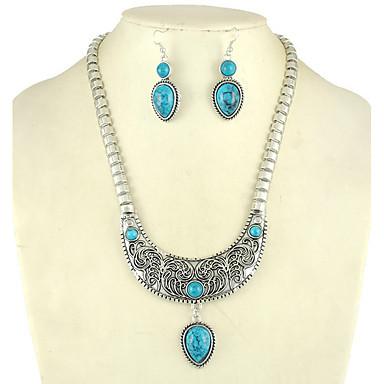 Pentru femei Turcoaz, Ștras Set bijuterii Cercei Stud, Coliere cu Pandativ - Turcoaz, Aliaj Altele Negru, Rosu, Albastru