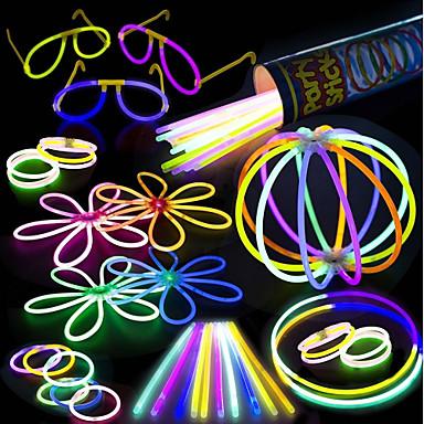 100 pachet de party-uri strălucitoare - 100 de culori mixte 8 glowsticks premium cu conectori pentru a face brățări ochelari flori bile și