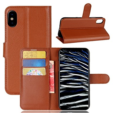 Case For Apple iPhone X iPhone 8 iPhone 8 Plus Card Holder Wallet Flip Full Body Cases Solid Color Hard PU Leather for iPhone X iPhone 8