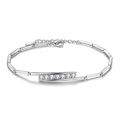 Dam Kubisk Zirkoniumoxid Geometriskt Kedje & Länk Armband - Sterlingsilver Armband Silver / Purpur Till Bröllop Party