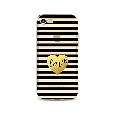 voordelige iPhone 5c hoesjes-hoesje Voor Apple iPhone X / iPhone 8 Plus / iPhone 8 Transparant / Patroon Achterkant Lijnen / golven / Hart Zacht TPU