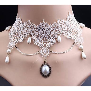 billige Mode Halskæde-Dame Syntetisk Diamant Kort halskæde Imiteret Perle Blonde Klassisk Sød Stil Hvid Halskæder Smykker Til Bryllup Fest