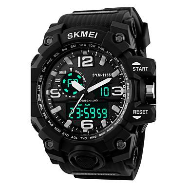 저렴한 남성용 시계-남성용 여성용 스포츠 시계 밀리터리 시계 스마트 시계 디지털 실리콘 블랙 30 m 방수 알람 달력 아날로그-디지털 참 사치 캐쥬얼 뱅글 패션 - 블랙 레드 블루 / 크로노그래프 / LCD / 충격 방지 / 야광 / 별이 빛나는