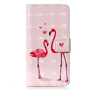 voordelige iPhone X hoesjes-hoesje Voor Apple iPhone X / iPhone 8 Plus / iPhone 8 Portemonnee / Kaarthouder / met standaard Volledig hoesje Flamingo / dier Hard PU-nahka