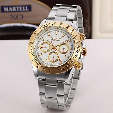זול שעוני גברים-Jaragar בגדי ריקוד גברים שעון יד שעון תעופה אוטומטי נמתח לבד מתכת אל חלד כסף שעונים יום יומיים מגניב אנלוגי קלסי יום יומי אופנתי - כסוף / לבן זהב / לבן שחור / כסוף