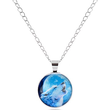 preiswerte Halsketten-Herrn Damen Pendant Halskette Tier Wolf Zeichentrick Modisch Glas Metal Aleación Silber Bronze Modische Halsketten Schmuck 1 Für Schultaschen Festtage