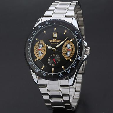 저렴한 남성용 시계-WINNER 남성용 드레스 시계 손목 시계 기계식 시계 오토메틱 셀프-윈딩 달력 스테인레스 스틸 밴드 캐쥬얼 멋진 실버