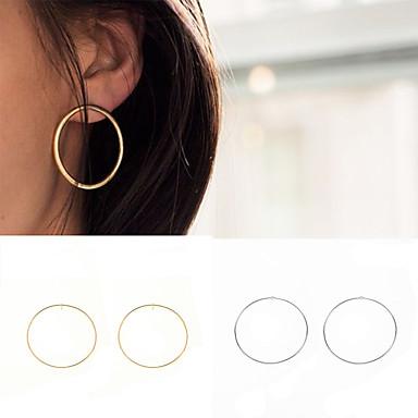 Damskie Kolczyki koła Biżuteria Okragły euroamerykańskiej Modny minimalistyczny styl Europejski Miedź Circle Shape Biżuteria Gold Silvery
