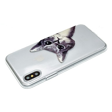 in Decorazioni 06355930 per Gatto iPhone iPhone Per disegno Custodia Fantasia X Per Morbido Apple iPhone rilievo 8 X retro iPhone TPU Transparente fq1vpzA