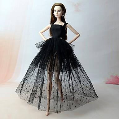 92096cda96ea Φορέματα Φορέματα Για Barbiedoll Μαύρο (iPhone4) Μείγμα Λινό   Βαμβάκι    Σατέν   Τούλι