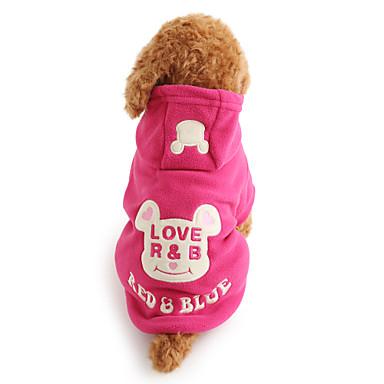 Собака Толстовки Одежда для собак Мультипликация Черный Розовый Флис Костюм Для домашних животных Муж. Жен. Очаровательный Сохраняет тепло