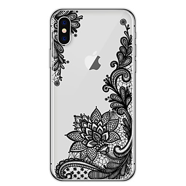 Case For Apple iPhone X / iPhone 8 Ultra-thin / Transparent / Pattern Back Cover Lace Printing Soft TPU for iPhone X / iPhone 8 Plus / iPhone 8