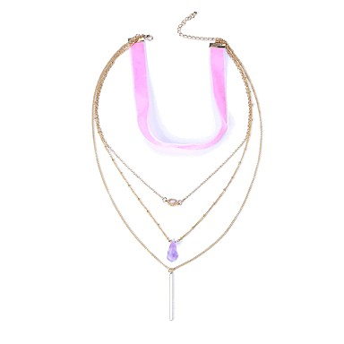 cheap Necklaces-Women's Layered Necklace Long Necklace Ladies European Rock Gothic Gemstone Alloy Rainbow Necklace Jewelry One-piece Suit For Carnival Masquerade