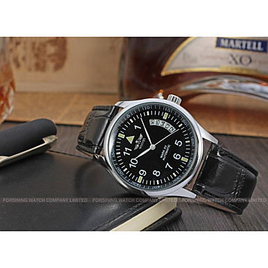 WINNER Men's Wrist Watch Mechanical Watch Automatic self-winding Leather Black 30 m Calendar /