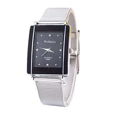 levne Pánské-Pánské Dámské Náramkové hodinky Square Watch Křemenný Stříbro imitace Diamond Analogové dámy Klasické Na běžné nošení Módní Minimalistické - Bílá Černá Jeden rok Životnost baterie / SSUO CR2025