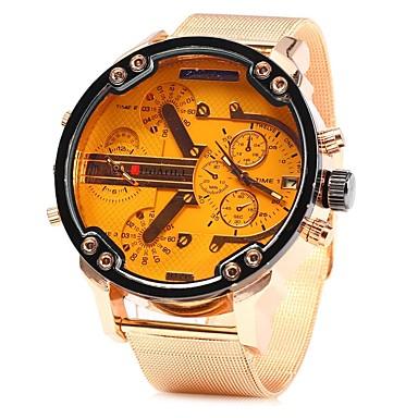 זול שעוני גברים-JUBAOLI בגדי ריקוד גברים שעון יד קווארץ גדול מתכת אל חלד זהב ורד מגניב צג גדול אנלוגי כחול בהיר צהוב ירוק