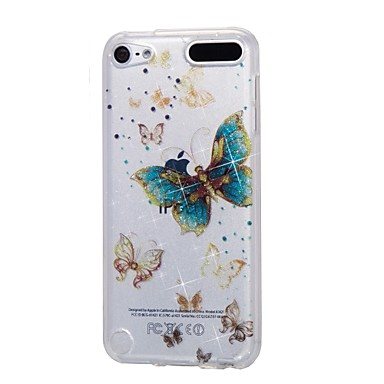 Case For Apple Ipod Touch5 / 6 Case Cover High Penetrating Powder IMD Gold Butterfly Soft TPU Phone Case