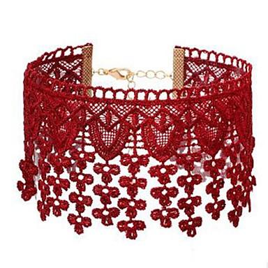 billige Mode Halskæde-Dame Kort halskæde Blonde Blomst Damer Simple Sød Rød Halskæder Smykker 1 Til Daglig I-byen-tøj Cosplay Kostumer