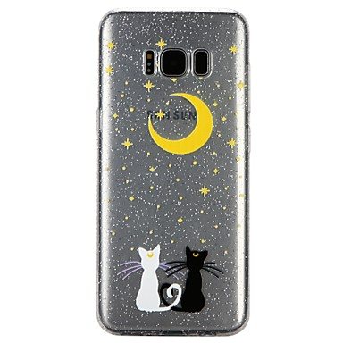 Case For Samsung Galaxy S8 S7 Translucent Pattern Embossed Varnish Back Cover Cat Glitter Shine Cartoon Soft TPU for S8 S7 S6