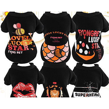 Dog Sweatshirt Dog Clothes Casual/Daily Reactive Print Black Costume For Pets