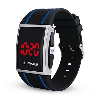 זול שעוני גברים-בגדי ריקוד גברים שעון דיגיטלי דיגיטלי סיליקוןריצה שחור / לבן / אדום כרונוגרף זורח שעונים יום יומיים דיגיטלי יום יומי אופנתי - אדום שחור / לבן שחור / כחול שנה אחת חיי סוללה / מתכת אל חלד