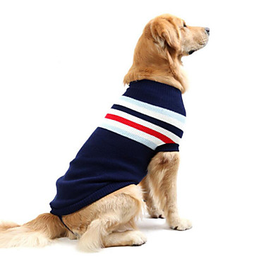 cheap Dog Clothing & Accessories-Dog Sweater Dog Clothes Striped Dark Blue Red Cotton Costume For Spring &  Fall Winter Men's Women's Casual / Daily
