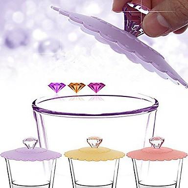 elmas sap silikon sızdırmaz kalmaz güzel kap kapağı (rasgele renk)