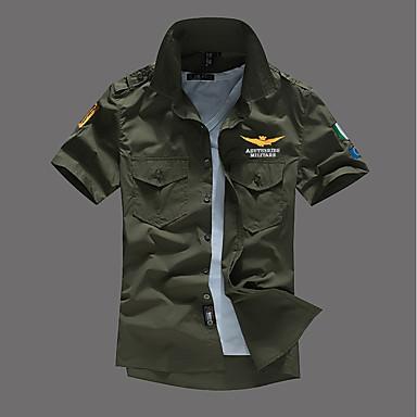 billige Herrers Mode Beklædning-Spredt krave Tynd Herre - Ensfarvet Basale Militær Skjorte Sort XXL / Sommer