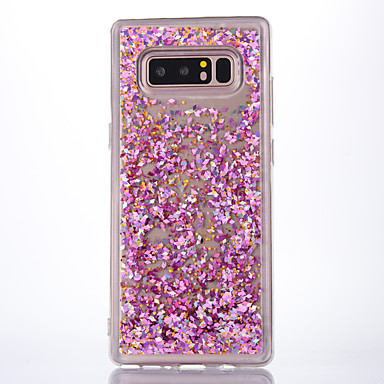 voordelige Galaxy Note-serie hoesjes / covers-hoesje Voor Samsung Galaxy Note 8 Stromende vloeistof / Transparant Achterkant Transparant / Glitterglans Zacht TPU