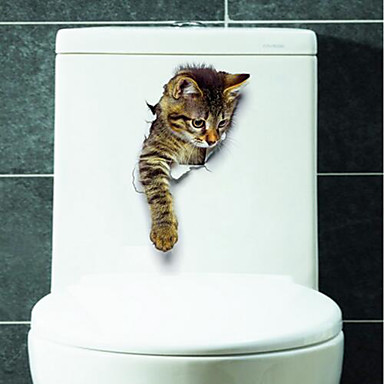 Animals Wall Stickers 3D Wall Stickers Toilet Stickers, Vinyl Home Decoration Wall Decal Toilet