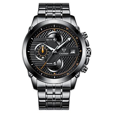 levne Pánské-CADISEN Pánské Sportovní hodinky Křemenný Nerez Černá / Bílá 30 m Voděodolné Kalendář Chronograf Analogové Na běžné nošení Módní - Bílá Černá Černá / Stříbrná Dva roky Životnost baterie / Svítící