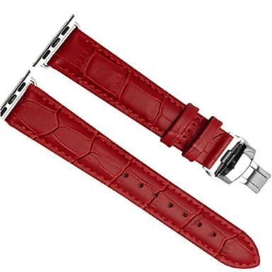 رخيصةأون إكسسوارات الساعات الذكية-حزام إلى Apple Watch Series 4/3/2/1 Apple بكلة كلاسيكية جلد طبيعي شريط المعصم