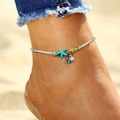 ieftine Bijuterii de Corp-Pentru femei Brățară Gleznă picioare bijuterii Stea de mare Scoică femei Boem Modă Boho Imitație de Perle Brățară Gleznă Bijuterii Alb Pentru Concediu Bikini