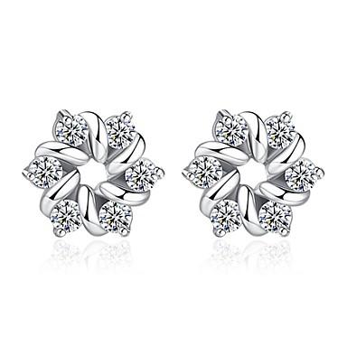 Γυναικεία Cubic Zirconia Κουμπωτά Σκουλαρίκια - Ζιρκονίτης Λουλούδι κυρίες Γλυκός Μοντέρνα Κοσμήματα Ασημί Για Καθημερινά Ημερομηνία