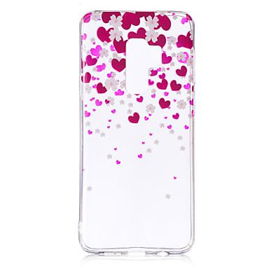 Недорогие Чехлы и кейсы для Galaxy S6 Edge-Кейс для Назначение SSamsung Galaxy S9 / S9 Plus / S8 Plus IMD / С узором / Прозрачный Body Кейс на заднюю панель С сердцем Мягкий ТПУ