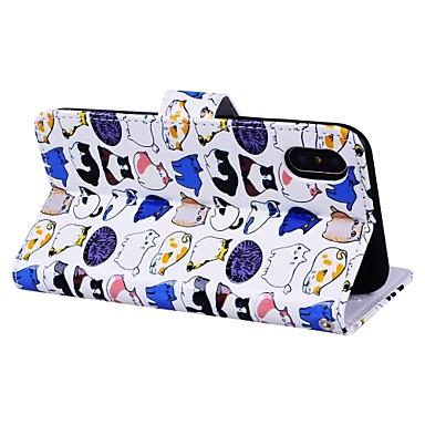 Con Apple Per Resistente Gatto iPhone di Custodia iPhone 06580141 magnetica credito 6 carte Porta X Integrale Fantasia disegno chiusura pelle v1wndT5q