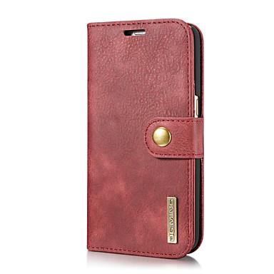 Недорогие Чехлы и кейсы для Galaxy S-DG.MING Кейс для Назначение SSamsung Galaxy S7 Бумажник для карт / со стендом / Флип Чехол Однотонный Твердый Настоящая кожа для S7