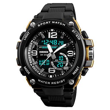 זול שעוני גברים-SKMEI בגדי ריקוד גברים שעוני ספורט שעוני אופנה שעונים צבאיים Japanese דיגיטלי דמוי עור מרופד שחור 50 m עמיד במים Alarm לוח שנה אנלוגי-דיגיטלי יום יומי אופנתי - כחול מוזהב חאקי שנה אחת חיי סוללה