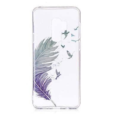 Недорогие Чехлы и кейсы для Galaxy S6-Кейс для Назначение SSamsung Galaxy S9 / S9 Plus / S8 Plus IMD / С узором / Прозрачный Body Кейс на заднюю панель Перья Мягкий ТПУ