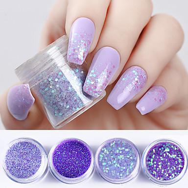 4 4шт Порошок блеска Гель для ногтей Дизайн ногтей