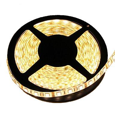 5m Esnek LED Şerit Işıklar 300 LED'ler 5050 SMD Sıcak Beyaz Kesilebilir / Su Geçirmez / Bağlanabilir 12 V / IP65 / Kendinden Yapışkanlı