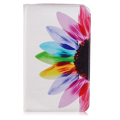 [$11.59] Case For Samsung Galaxy Tab E 8.0 Card Holder Wallet with Stand Pattern Auto Sleep / Wake Up Full Body Cases Flower Hard PU Leather for